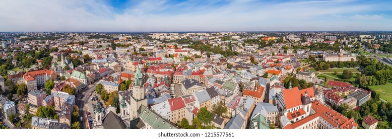 Panorama of the old city in Lublin, seen from the bird's eye view. Trinitarian tower, town hall and Lublin Castle in one photo.