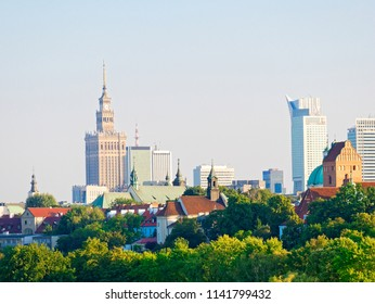 Panorama of the old city and skyscrapers in Warsaw. Poland.