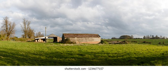 Panorama of old farm buildings in English countryside. Buckinghamshire, UK