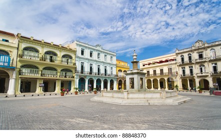 Panorama of Old Havana plaza Vieja with colorful buildings, Cuba