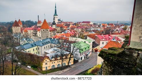 Panorama of old, historical center of Tallinn, Estonia