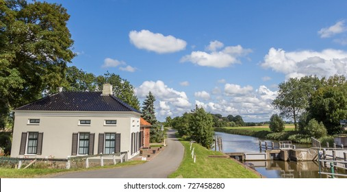 Panorama of an old house at the river in Groningen, Netherlands