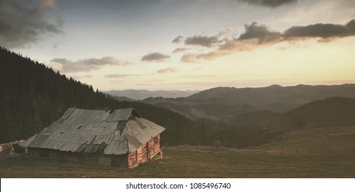 Panorama of the old houses in the mountains at dawn.