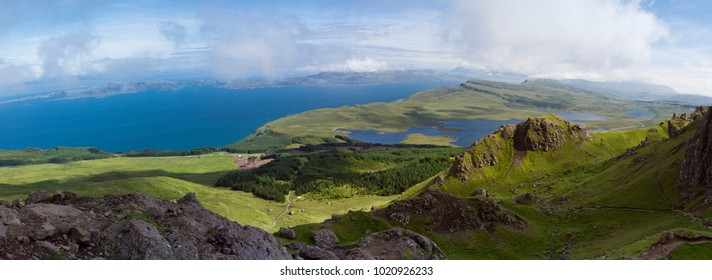 Panorama of Old Man of Storr rock formation, Isle of Skye, Scotland