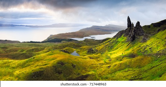 Panorama of Old Man of Storr rock formation, Isle of Skye, Scotland.