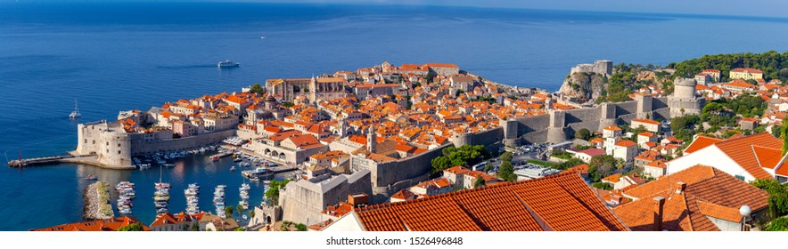 Panorama of the old medieval historical part of the city on a sunny morning. Dubrovnik. Croatia.