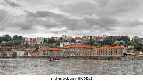 Panorama old Porto at river Duoro,with Port transporting boats,  Oporto, Portugal