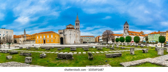 Panorama of old roman square in city center of town Zadar, famous Dalmatia region in Croatia, travel places.