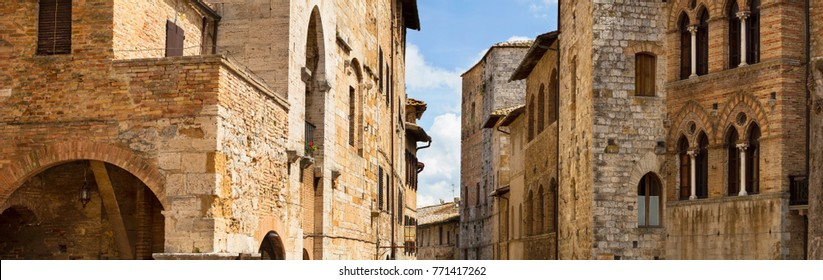 panorama of old stone buildings in Tuscany city in Italy