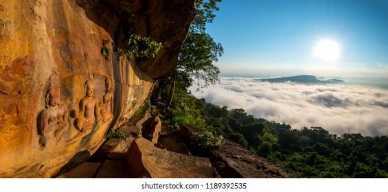 Panorama Old stone carvings with cloud fog  at Pha Mo i Daeng  Phra Wihan National Park. Sisaket province,Thailand,ASIA.