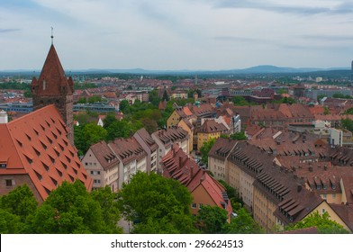 Panorama of the Old Town architecture in Nuremberg, Germany.