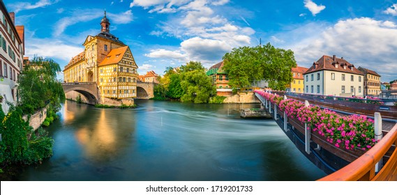 Panorama of old town of Bamberg city in Germany