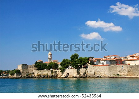 Panorama of the old town. Island Krk, Croatia