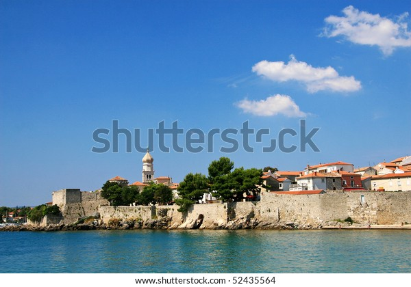 Panorama of the old town. Island Krk, Croatia