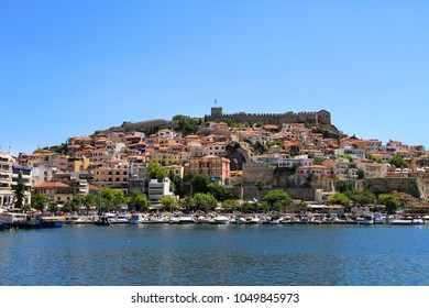 Panorama of the old town - Kavala, Greece - Byzantine fortress, port, buildings, Aegean Sea