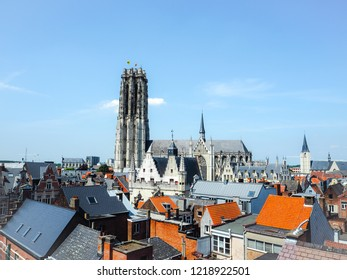 Panorama of the old town of Mechelen and the Saint Rumbold's Cathedral, in the province of Antwerp, Belgium
