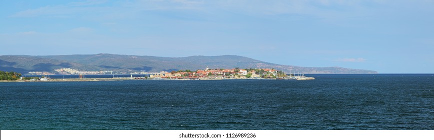 Panorama of Old Town of Nessebar, Bulgaria. Nessebar is an ancient town and one of the major seaside resorts on the Bulgarian Black Sea Coast.