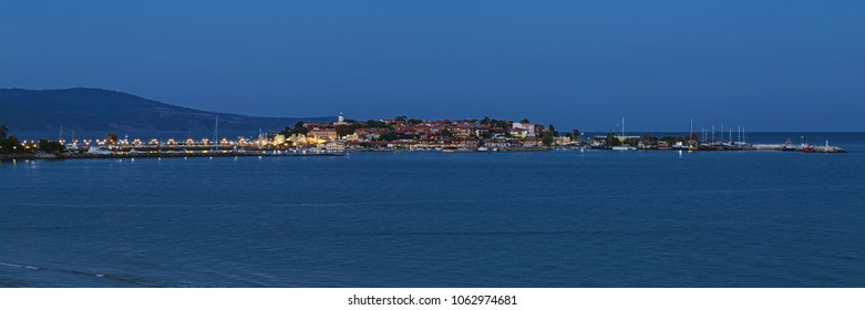 Panorama of Old Town of Nessebar in dusk, Bulgaria. Nessebar is an ancient town and one of the major seaside resorts on the Bulgarian Black Sea Coast.