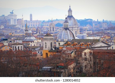 Panorama of the old town from the roof of the castle, Rome, Italy .