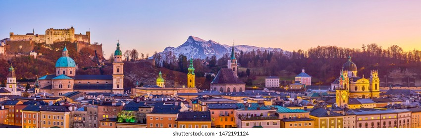 The panorama of the old town of Salzburg, the pearl of Austrian medieval architecture with beautiful evening sky