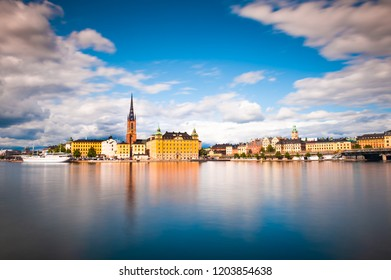 Panorama of the Old Town in Stockholm, Sweden. Long exposure shoot