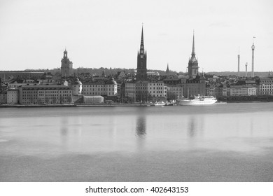 Panorama of Old Town of Stockholm, Sweden, with the boats on a sea