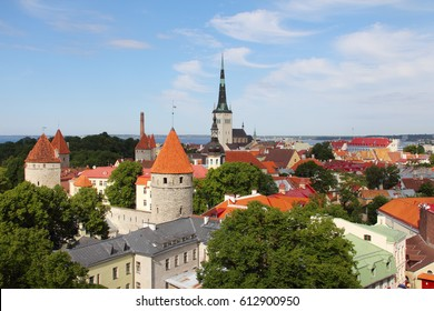 Panorama of the old town of Tallinn in summer
