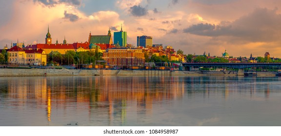 Panorama of the Old Town in Warsaw in poland
