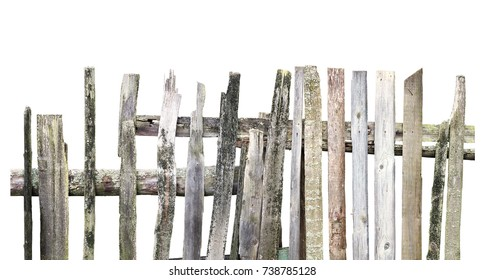 Panorama Of Old Wooden Fence Of Different Boards Isolated On White  Background. Broken Fence