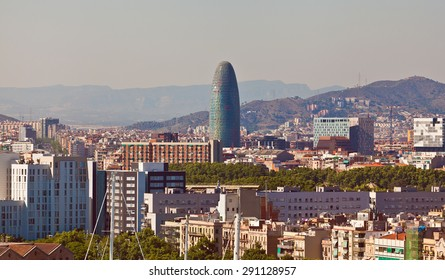 Panorama on Barcelona city from Montjuic castle.Catalonia. Spain.