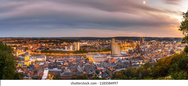 Panorama on the city of Liège at the end of the golden hour.