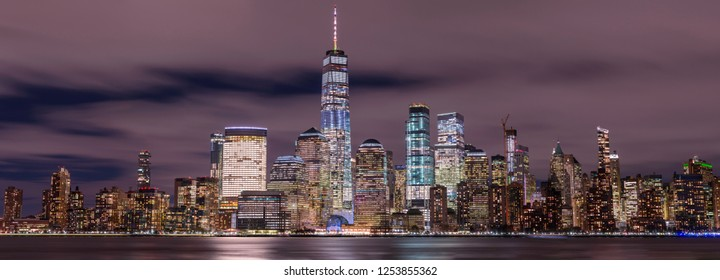 Panorama on Financial District at night with long exposure