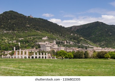 Panorama on historical monuments of Gubbio on the hill