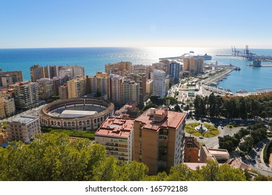Panorama on the port of Malaga, Andalusia, Spain.