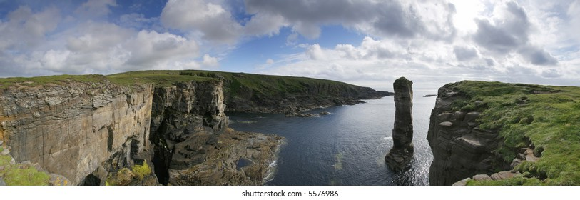 Panorama of Orkney coastline including Yesnaby Castle