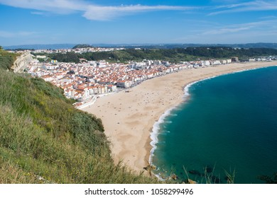 Panorama out over Nazare Beach and the Atlantic Ocean in central Portugal