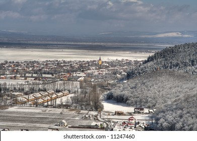 Panorama over Cristian town in Brasov, Transylvania.