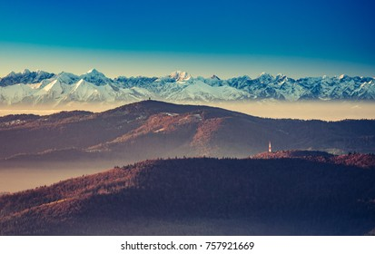panorama over Gorce to snowy Tatra mountains in the morning, Poland landscape