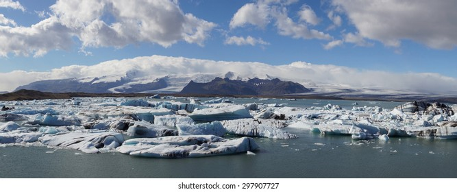 Panorama over Jokulsarlon Glacier Lagoon, Iceland