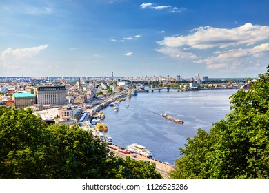 Panorama over the Kiev, view from the city hill towards the Dniepr river bank and downtown.