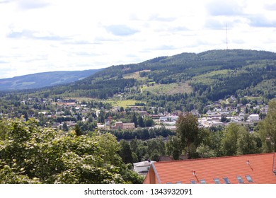 Panorama over Kongsvinger, Norway. Taken from the fortress.