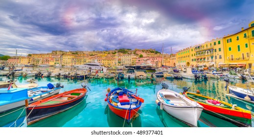 Panorama over Portoferraio town of  isola d'Elba, Elba island in Tuscany region, Italy.