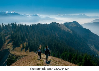 Panorama over the Swiss alps in the Bernese Oberland. Overlooking the scenery from the Augstmatthorn.