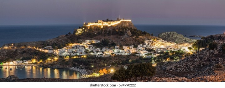 Panorama overview of Lindos on Rhodes island, Greece, after sunset