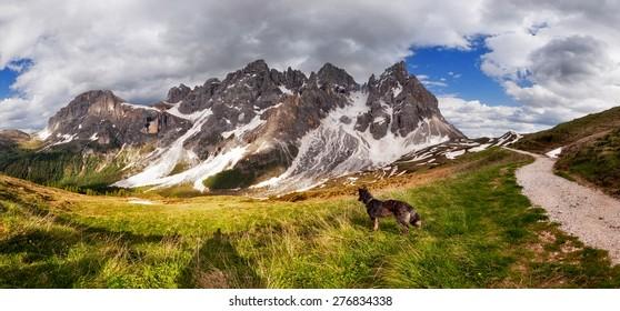 Panorama of Pale di San Martino mountain, Dolomites Alps, Italy
