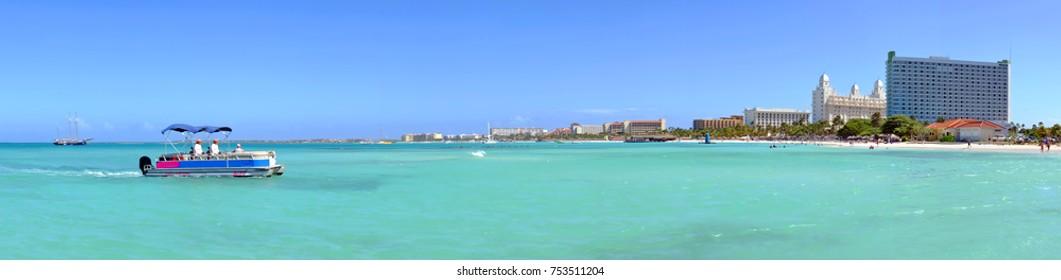 Panorama from Palm Beach on Aruba island in the Caribbean Sea
