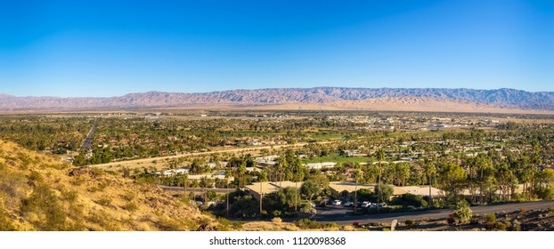 Panorama of Palm Springs in California, USA. It is a desert resort city in Riverside County within the Coachella Valley.