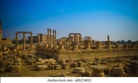 Panorama of Palmyra columns and ancient city, destroyed by ISIS, Syria