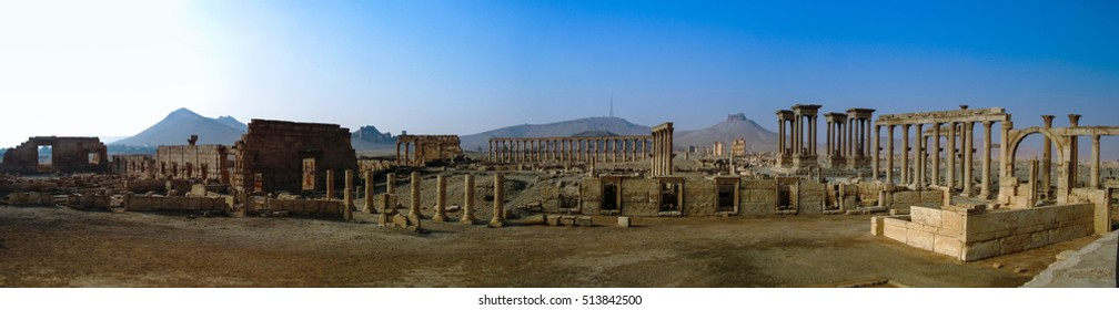 Panorama of Palmyra columns,Tetrapylon and ancient city, destroyed by ISIS, Syria