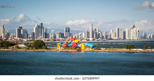 panorama of Panama City seen from the sea
